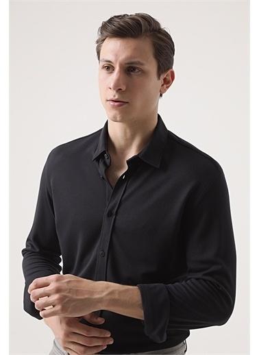 Tween Tween Slim Fit Siyah Baskılı Örme Gömlek Siyah